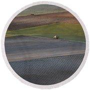 La Mancha Landscape - Spain Series-siete Round Beach Towel
