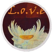 La Marguerite - Love Red Wine  Round Beach Towel