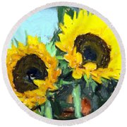 La Peinture Impressionniste De Tournesol Round Beach Towel