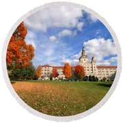 La Roche College On A Fall Day Round Beach Towel