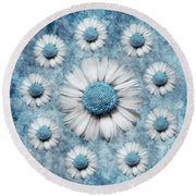 La Ronde Des Marguerites - Blue V02 Round Beach Towel by Variance Collections