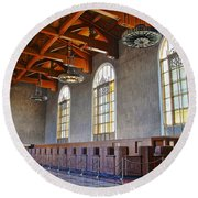 Los Angeles Union Station At Its 75th Anniversary Round Beach Towel