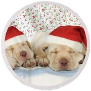 Labrador Puppy Dogs Wearing Christmas Round Beach Towel