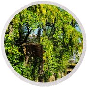 Laburnum By The River Round Beach Towel