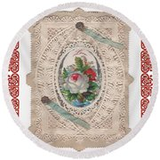 Lace And Roses Round Beach Towel