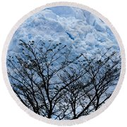 Lace On Blue Round Beach Towel
