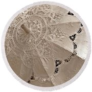Lace Parasol In Sepia Round Beach Towel