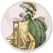 Ladies Elaborate Gown, Engraved Round Beach Towel