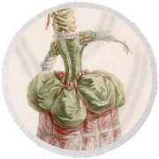 Ladies Evening Gown, Engraved By Dupin Round Beach Towel