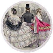 Ladies Wearing Crinolines At The Royal Italian Opera Round Beach Towel