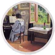 Lady At The Piano Round Beach Towel