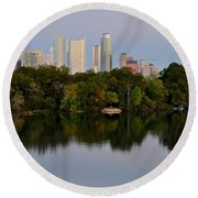 Lady Bird Lake In Austin Texas Round Beach Towel