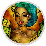 Lady Creole Round Beach Towel