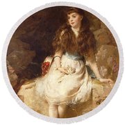 Lady Edith Amelia Ward Daughter Of The First Earl Of Dudley Round Beach Towel