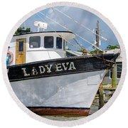 Lady Eva Shrimp Boat Round Beach Towel