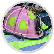 Lady Firefighter Round Beach Towel