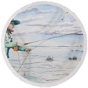 Lady Fly Fishing Round Beach Towel