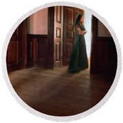 Lady In Green Gown In Doorway Round Beach Towel