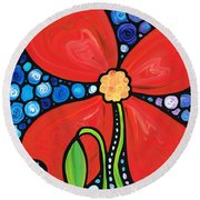 Lady In Red 2 - Buy Poppy Prints Online Round Beach Towel by Sharon Cummings