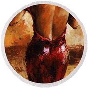 Lady In Red /24 Round Beach Towel