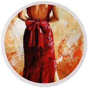 Lady In Red  39 Round Beach Towel