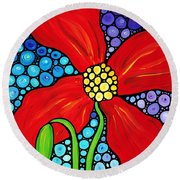 Lady In Red - Poppy Flower Art By Sharon Cummings Round Beach Towel