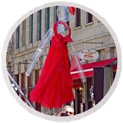 Lady In Red Watching Filming Of Today Show In Old Montreal-qc Round Beach Towel