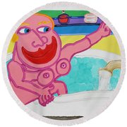 Lady In The Tub Round Beach Towel