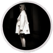 Lady In The White Coat Round Beach Towel