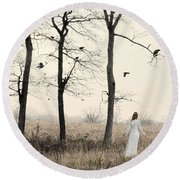 Lady In White In Autumn Landscape Round Beach Towel