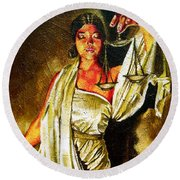 Lady Justice Sepia Round Beach Towel