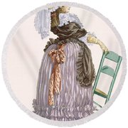 Lady Leaning On Chair, Engraved Round Beach Towel