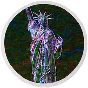 Lady Liberty 20130115 Round Beach Towel