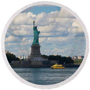 Lady Liberty And Water Taxi Round Beach Towel