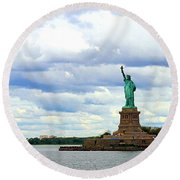 Lady Liberty B Round Beach Towel