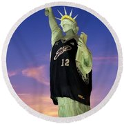 Lady Liberty Dressed Up For The Nba All Star Game Round Beach Towel by Susan Candelario