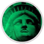 Lady Liberty In Copper Green Round Beach Towel