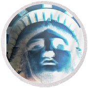 Lady Liberty In Negative Round Beach Towel