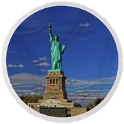 Lady Liberty In New York City Round Beach Towel