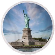Lady Liberty Round Beach Towel by Juli Scalzi