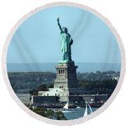 Lady Liberty Round Beach Towel by Kristin Elmquist