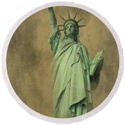 Lady Liberty New York Harbor Round Beach Towel
