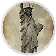 Lady Liberty No 11 Round Beach Towel