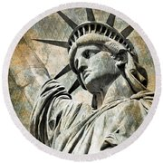 Lady Liberty Vintage Round Beach Towel by Delphimages Photo Creations