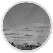 Lady Liberty Watching Over New York City Round Beach Towel
