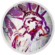 Lady Liberty Watercolor Round Beach Towel by Delphimages Photo Creations