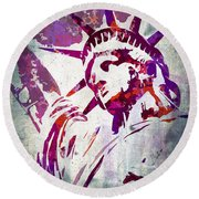 Lady Liberty Watercolor Round Beach Towel