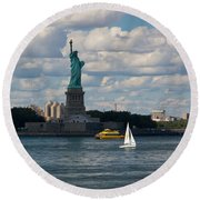 Lady Liberty With Sailboat And Water Taxi Round Beach Towel