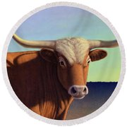 Lady Longhorn Round Beach Towel by James W Johnson