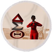 Lady Of Dst Round Beach Towel